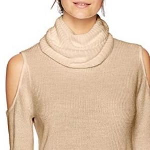 Ribbed Cold Shoulder Cowl Neck Pullover Sweater